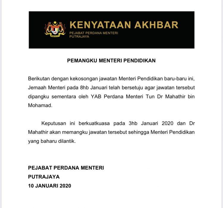 Tun M Pemangku Menteri Pendidikan