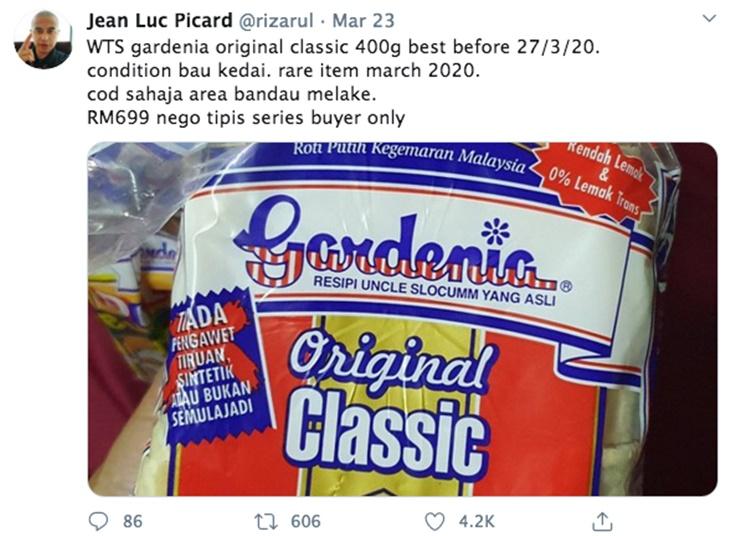 Lelaki 'Buat Gila' Jual Kembali Roti Gardenia Dengan Harga RM699 Sebuku