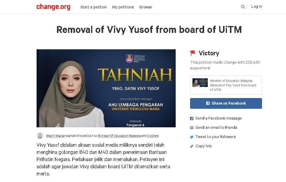 Petisyen Keluarkan Vivy Daripada Ahli Lembaga Pengarah UiTM Raih Lebih 230,000 Tanda Tangan Dalam Masa 3 Hari 1