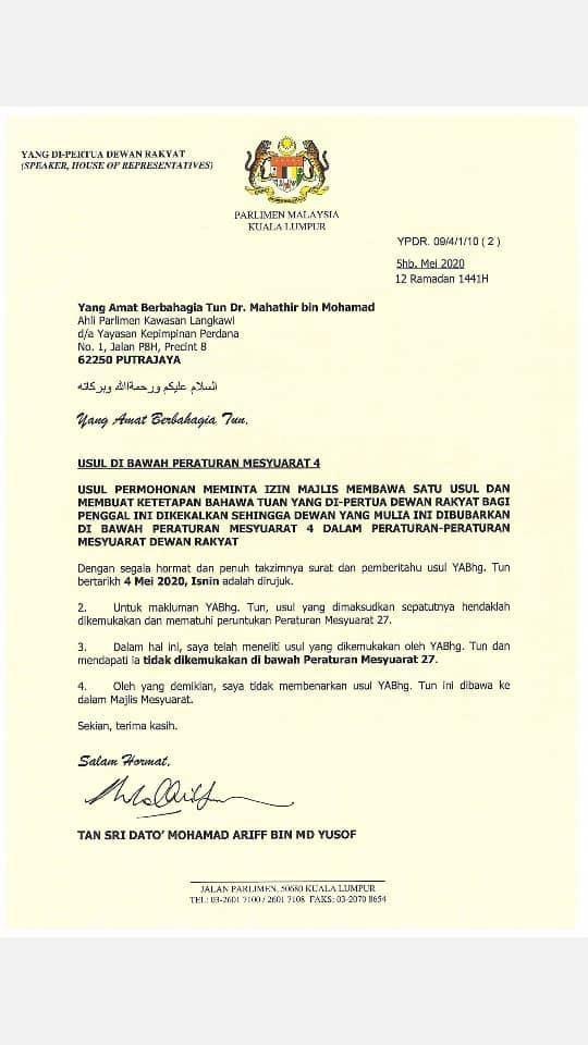 Speaker Dewan Rakyat Maklumkan Terima Usul Undi Tidak Percaya Terhadap Perdana Menteri