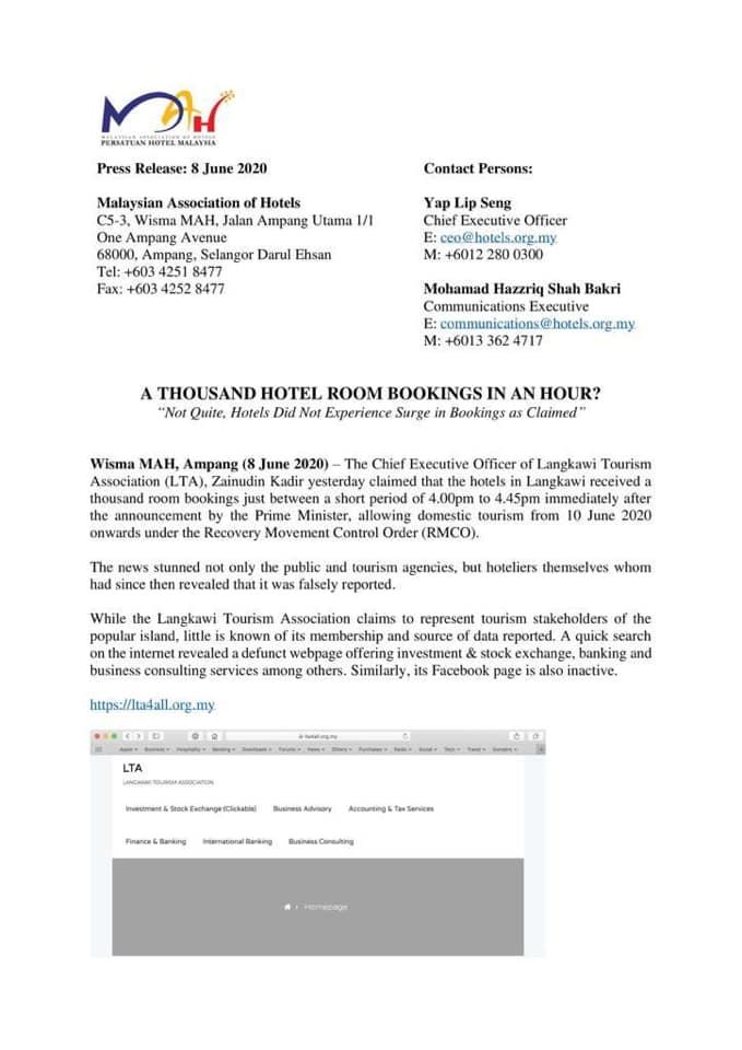 Berita 1,000 Tempahan Hotel Dalam Tempoh Masa 45 Minit Di Langkawi Adalah Palsu 1