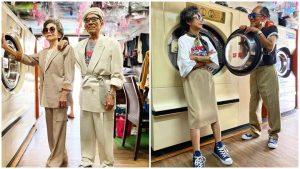 Pasangan Warga Emas Berfesyen Baju Dobi