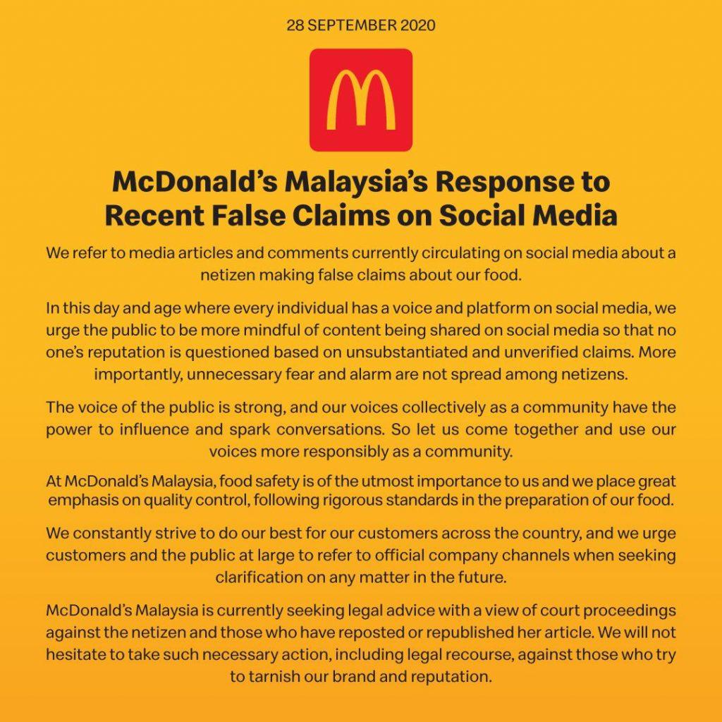 Pandang Serius Tohmahan Ayam Berulat, McDonald's Bakal Ambil Tindakan Undang-Undang