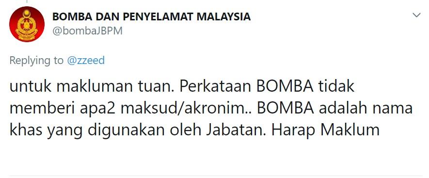 Asal-Usul Maksud BOMBA akronim