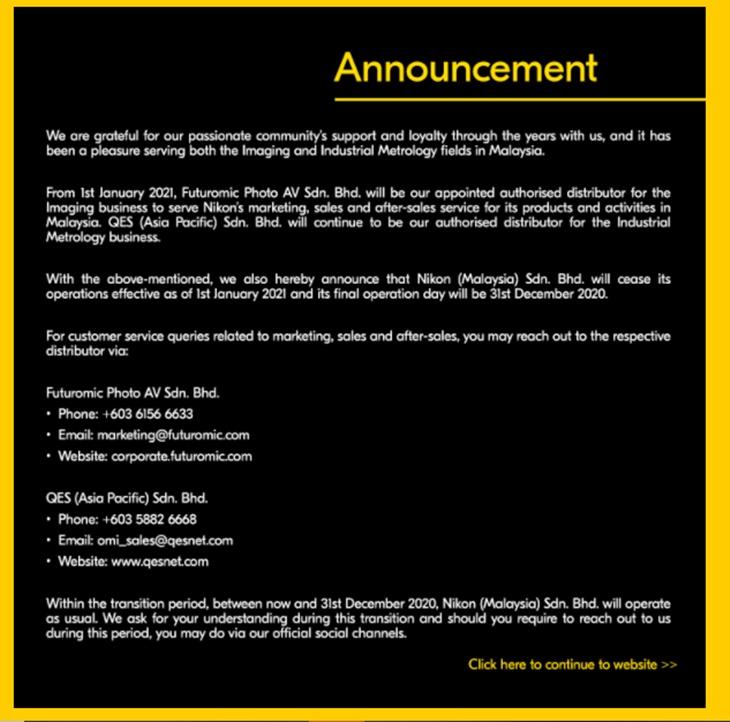 Nikon Tutup Operasi Malaysia