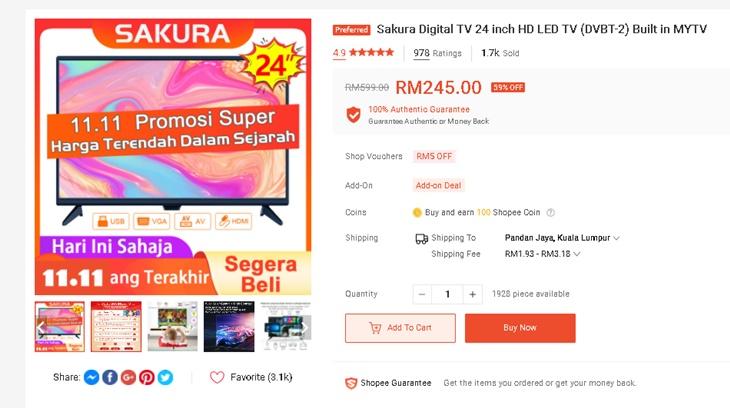 TV Bajet Bawah RM300 1