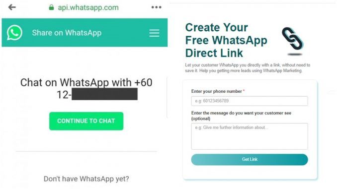 Cara Buat WhatsApp Link Direct Message