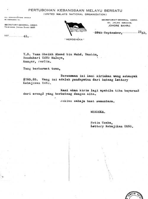 Loteri UMNO 1951, Skim Judi Yang Pernah 'Dihalalkan' Untuk Kebajikan Orang Melayu 2