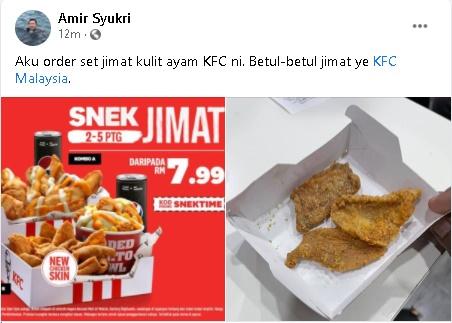 Hanya Terima 3 'Keping' Kulit Ayam, Lelaki Ini Kecewa Dengan Set Jimat Snek KFC 1