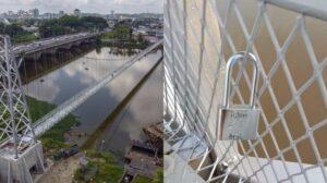 Love Lock Jambatan Gantung Satok Dipotong